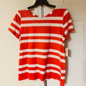 Spicy Orange and White Striped Tee with studs